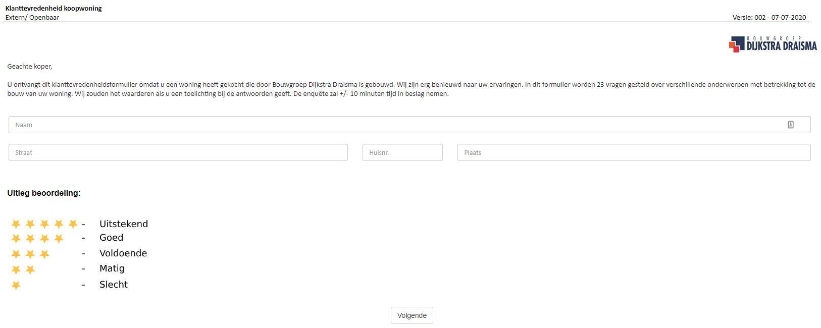 BGDD webformulier klanttevredenheid.