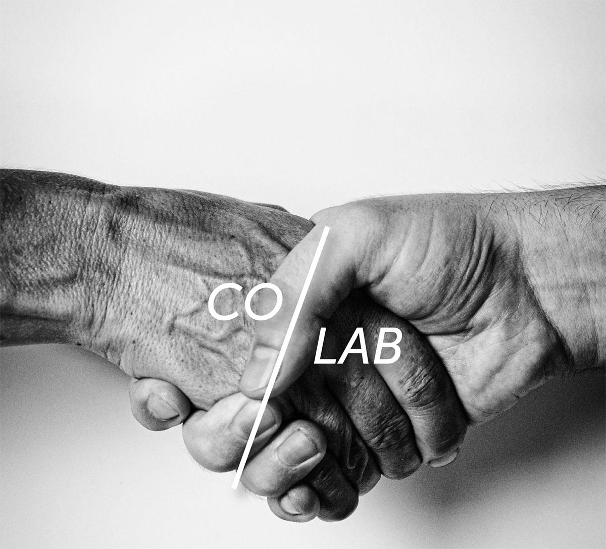 handen schudden zwart wit, co-lab tekst