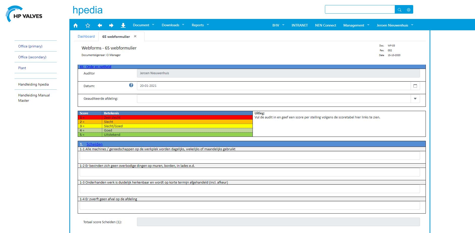 S6 Auditformulier gemaakt met ManualMaster WebForms.