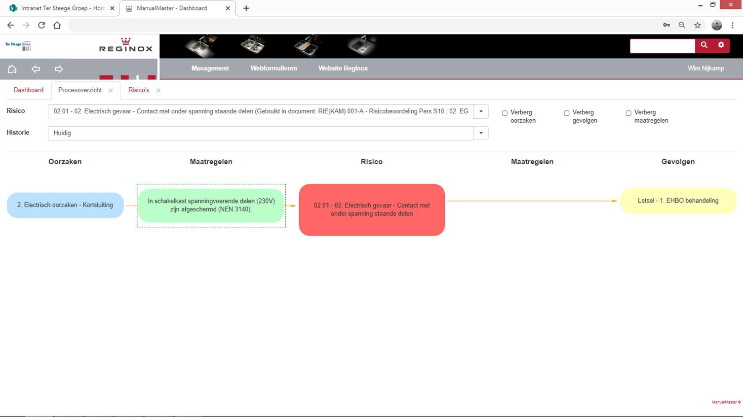 Reginox. grafische weergave van een risico