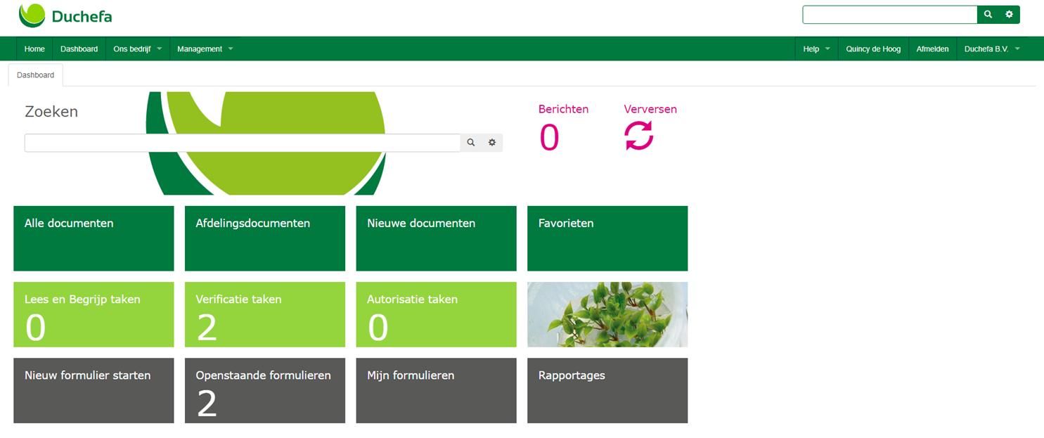 Screenshot Duchefa Dashboard