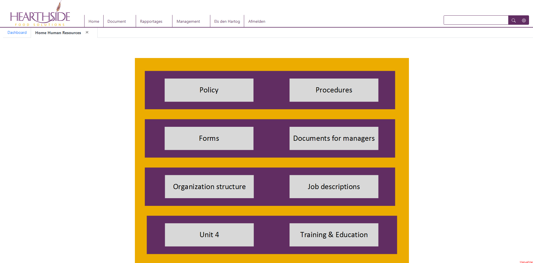 Heartside homepage van de HR afdeling.